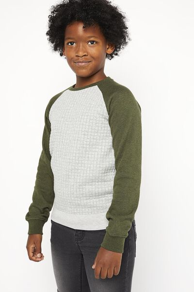 kindersweater doorgestikt donkergroen donkergroen - 1000021030 - HEMA