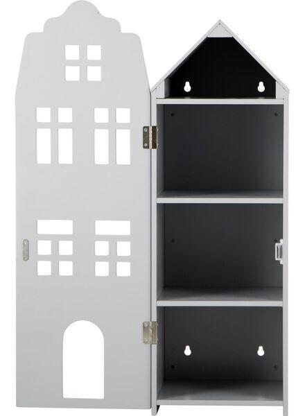 houten grachtenpand - 24.5 x 25 x 75 cm - lichtgrijs - 15190074 - HEMA