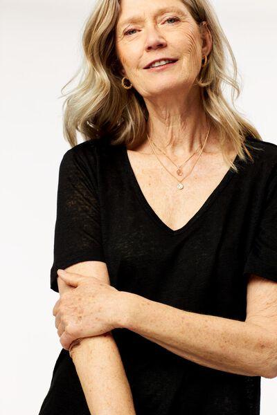 dames t-shirt linnen zwart zwart - 1000024302 - HEMA