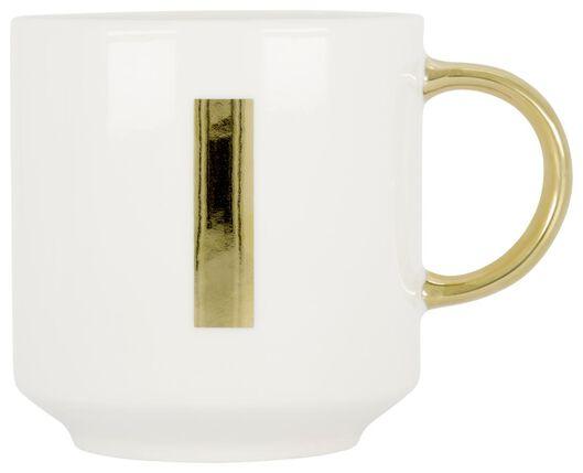 mok aardewerk wit/goud 350 ml - I - 61120104 - HEMA