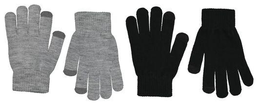 kinderhandschoenen met touchscreen - 2 paar zwart zwart - 1000020805 - HEMA