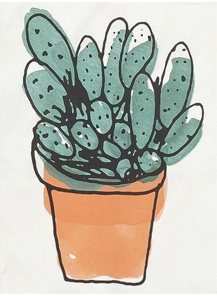 dekbedovertrek - zacht katoen - 140 x 200 cm - wit cactus - 5700133 - HEMA