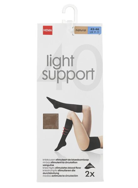 2-pak kniekousen licht ondersteunend 40 denier naturel naturel - 1000000880 - HEMA