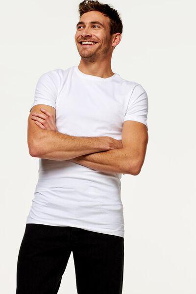 heren t-shirt slim fit o-hals extra lang wit wit - 1000009961 - HEMA