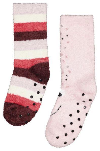 kinder huissokken glitter - 2 paar roze roze - 1000025313 - HEMA