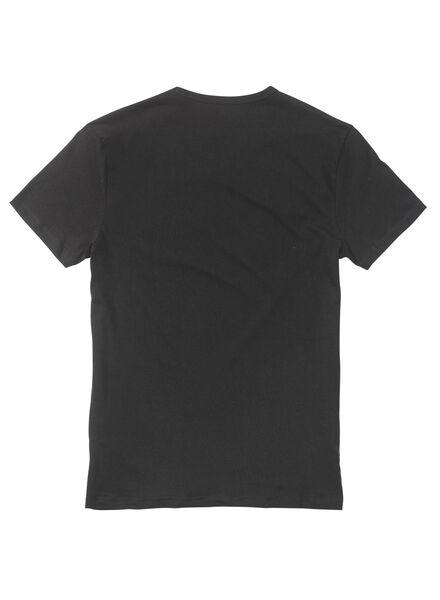 2-pak heren t-shirts regular-fit extra lang zwart zwart - 1000005793 - HEMA