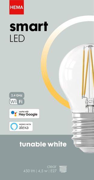 smart LED lamp kogel E27 - 4.5W - 450 lm - helder - 20000027 - HEMA
