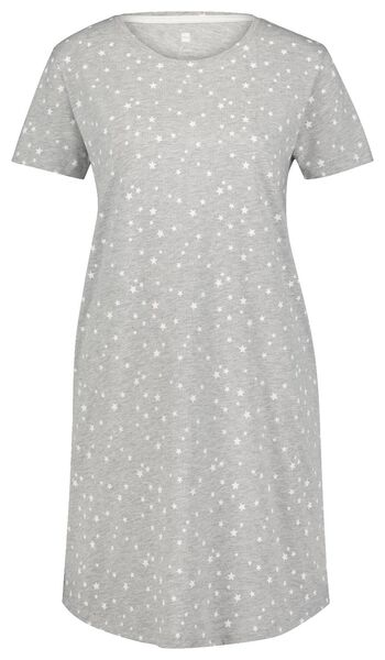 dames nachthemd katoen sterren grijsmelange - 1000025102 - HEMA