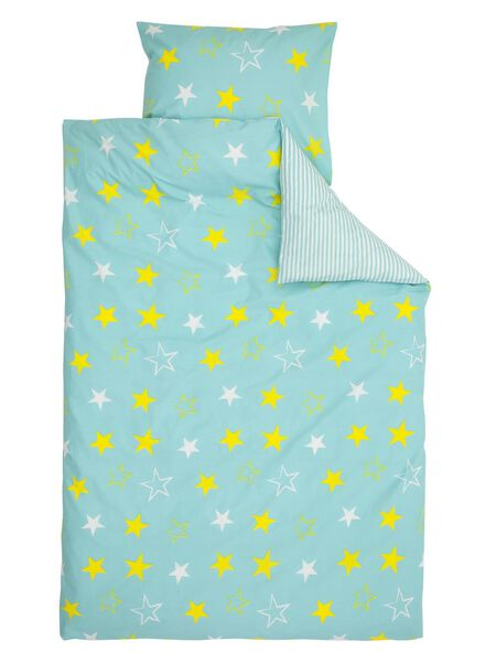 kinderdekbedovertrek - zacht katoen - 140 x 200 cm - blauw ster - 5791168 - HEMA