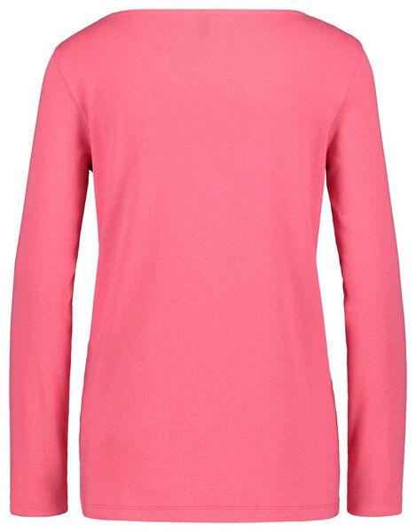 dames t-shirt boothals roze M - 36228397 - HEMA