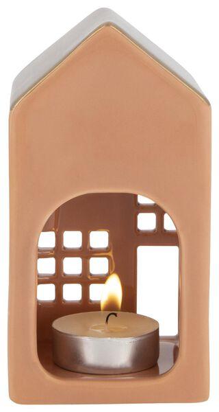 theelichthouder aardewerk huisje roze 13x7x6.5 - 25140058 - HEMA