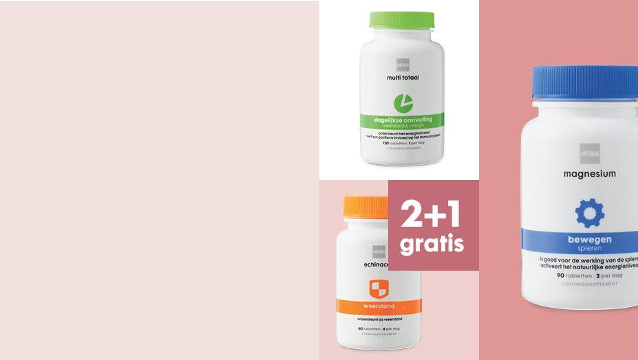 """alle voedings- </br> supplementen </br><font color=""""##FF0000"""">2+1 gratis</font> - Herobanner - HEMA"""